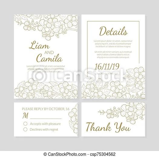vecteur invitation illustration mariage gabarit vous main texte remercier ensemble dessine carte espace fleurs