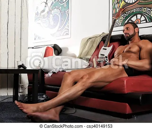 Handsome Naked Atletic Man Bodybuilder With Electric Guitar Playing Music Csp