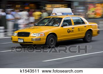 Stock Photography - yellow taxi cab  in motion. fotosearch  - search stock  photos, pictures,  images, and photo  clipart