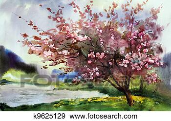 Stock Photograph - Watercolor painting landscape with blooming spring tree with flowers.. Fotosearch - Search Stock Photography, Posters, Pictures, and Photo Clipart Images