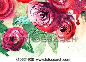 Picture - Beautiful Roses flowers, Watercolor painting . Fotosearch - Search Stock Photos, Images, Print Photographs, and Photo Clip Art