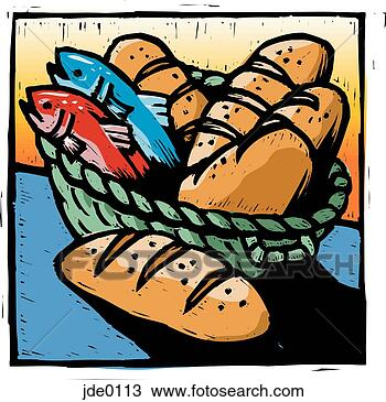 Drawing - bread and fish.  fotosearch - search  clipart, illustration,  drawings and vector  eps graphics images