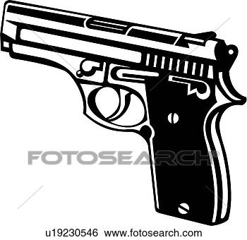 Clip Art - hand gun. fotosearch  - search clipart,  illustration,  drawings and vector  eps graphics images