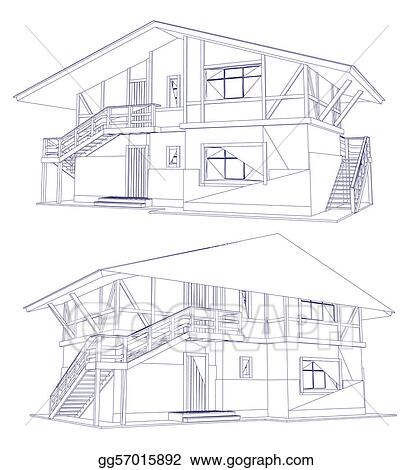Vector Art Architecture Blueprint Of A Two House Vector Eps Clipart Gg57015892 Gograph