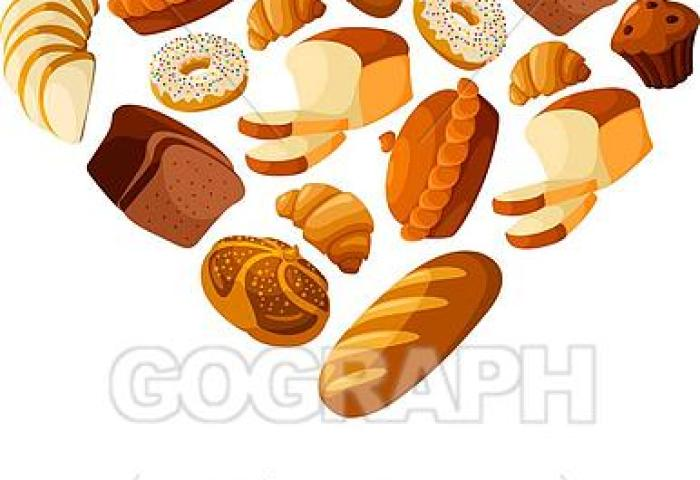 Vector Art Bakery Bread And Pastry Heart Vector Poster Clipart