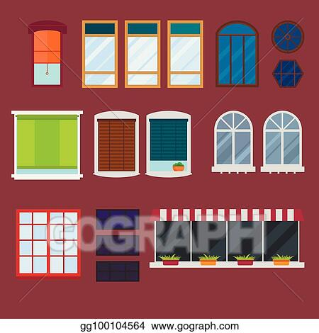 Diffe Types House Windows Elements Flat Style Glass Frames Construction Decoration Apartment Vector Ilration