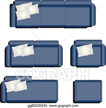 Vector Stock Furniture Top View Set 32 For Interior Ilration Blue Sofa Clip Art Gg80230245