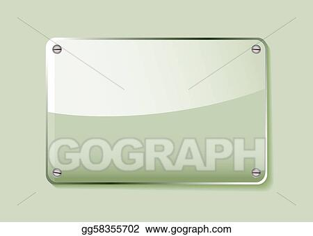 Eps Illustration Green Glass Name Tag Vector Clipart