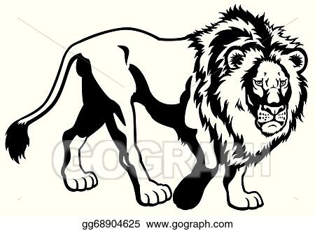 Vector Art Lion Black White Clipart Drawing Gg68904625 Gograph