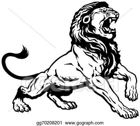 Eps Vector Roaring Lion Black White Stock Clipart Illustration Gg70208201 Gograph