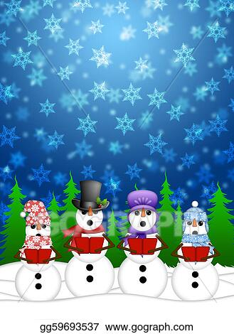 Stock Illustration Snowman Carolers Singing With Winter