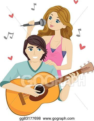 EPS Illustration Teen Couple Sing Duo Guitar Vector
