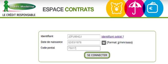 Espace client Crédit Moderne Accès contrat