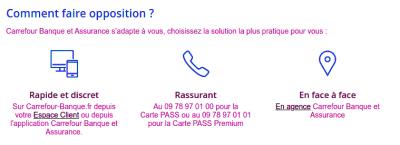 Faire opposition carte  Pass Carrefour perdue