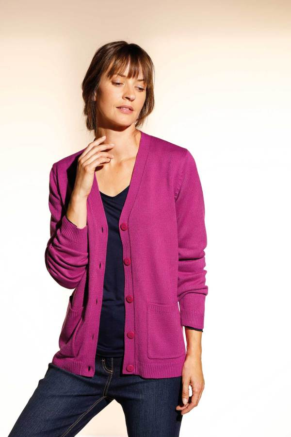 Gilet manches longues rose fuchsia