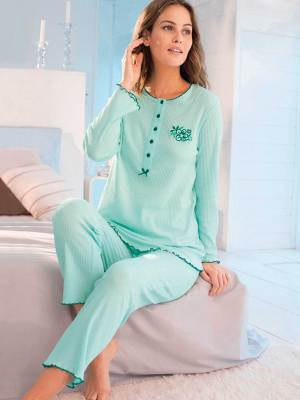 Pyjama manches longues maille interlock pur coton