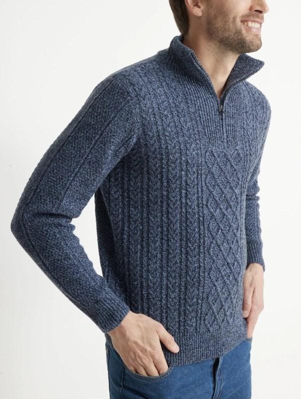 Pull chaud col montant zippé laine