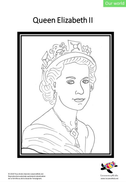 Queen Elizabeth II Colouring Page