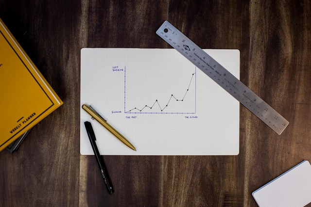 A chart of data sits on a desk with a ruler, pencil, and pen.