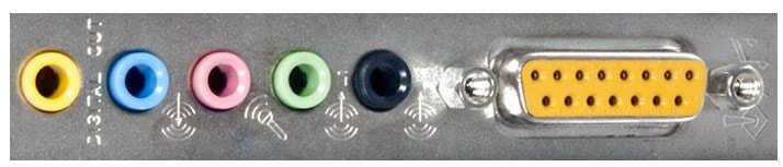 Puertos de entrada y salida de tarjeta sonido