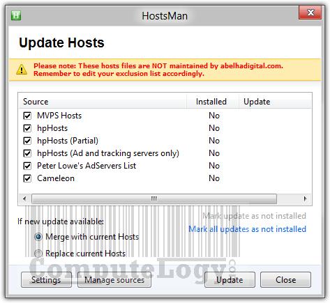 HostsMan 4.0.81 Update Hosts List - 1
