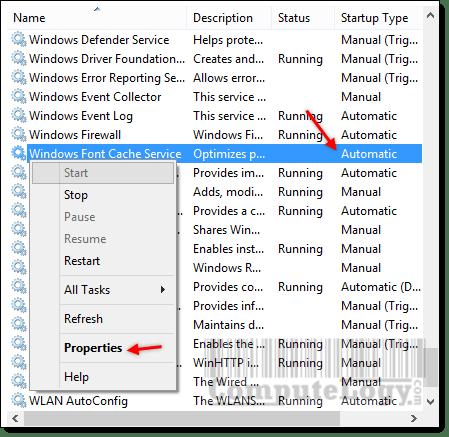Windows Font Cache Service