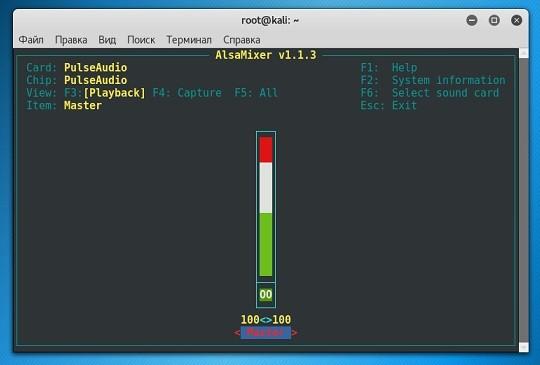 alsamixer в кали линукс
