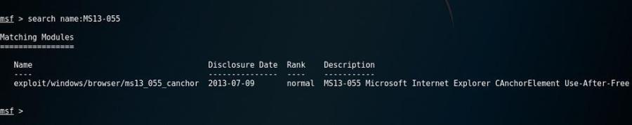 поиск эксплойта через терминал метасплойта