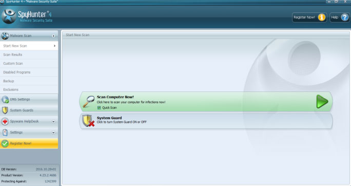 Spyhunter malware scan screen