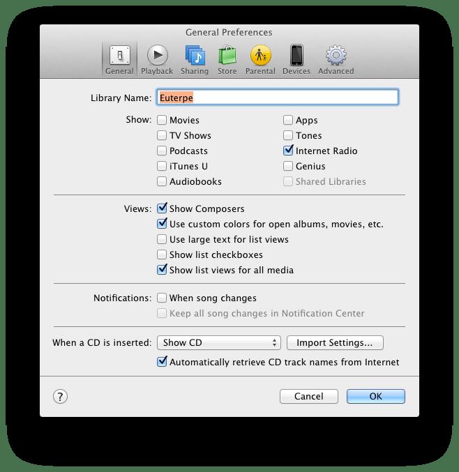 iTunes: Réglages des options liées au traitement numérique du son