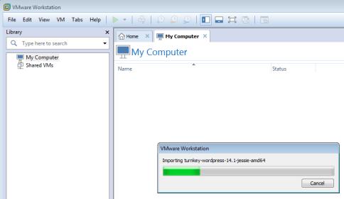 فتح الملف ضمن برنامج vmware