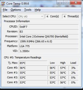قياس حرارة المعالج core temp
