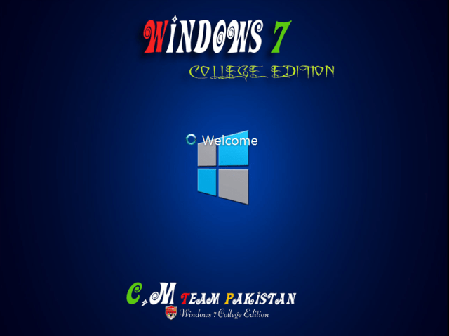 Windows 7 College Edition Lite Welcome Screen By C.M Team
