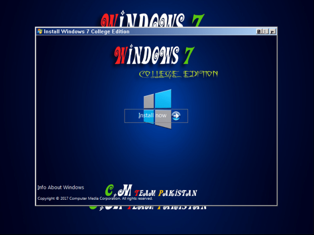 Windows 7 College Edition Lite x64 Bit Installation Screen (1)