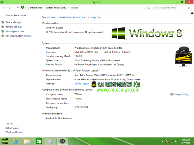 Windows 8 Green Edition 2017 By C.M Team My Computer Description