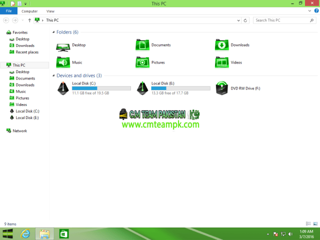 Windows 8 Green Edition 2017 By C.M Team My Computer