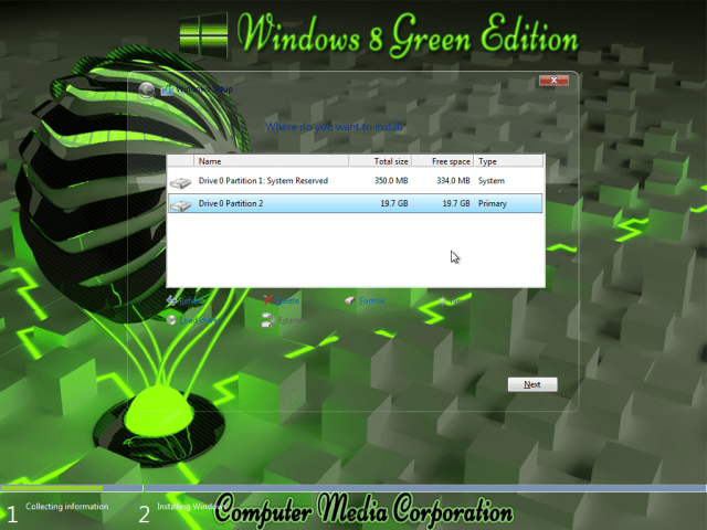 Windows 8 Green Edition 2017 By C.M Team Partation Screen