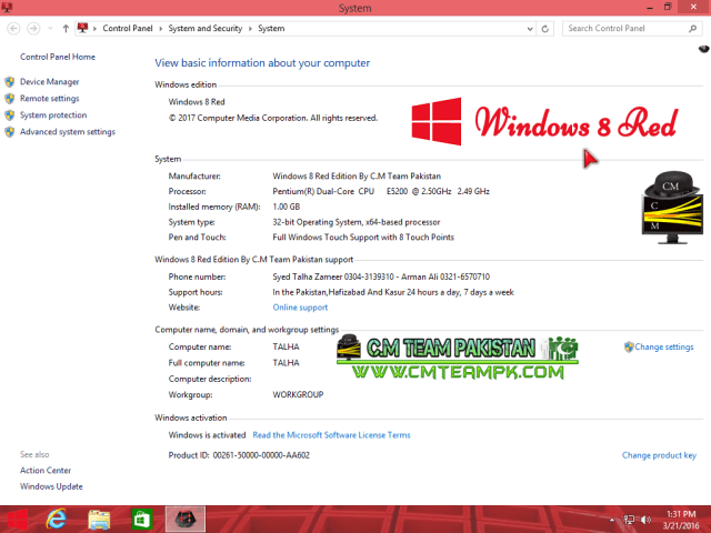 Windows 8 Red Edition Lite 2017 Details By CMTEAMPK