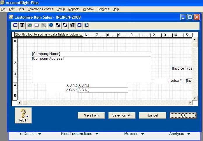Customising the Toolbar in MYOB