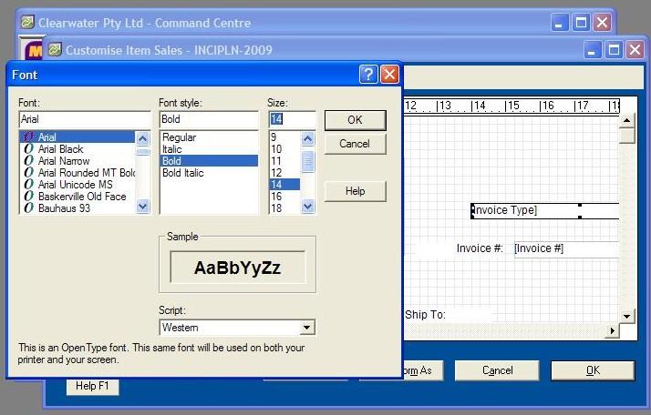 501703 Text Formatting for Fields in MYOB