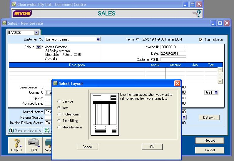 502103 Sales Layout in MYOB