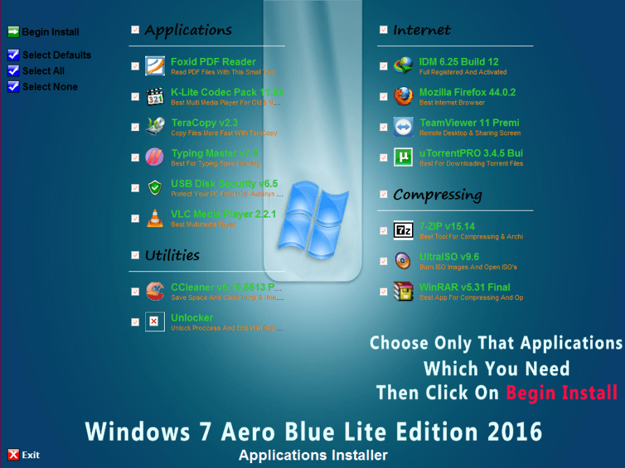 Windows 7 Aero Blue Lite Edition 2016 v2.0 Applications