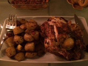 Tandoori-ish chicken & roasted Bombay potatoes.