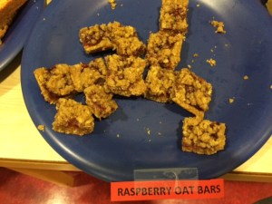 Already depleted plate of raspberry-oat-bar cookies