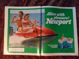 Idiots advertising cigarettes on a jet ski