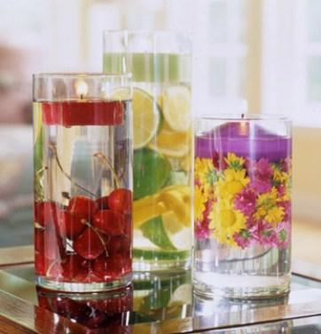 velas decoração e agua