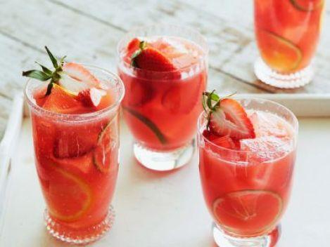 Sangria de melancia com morango