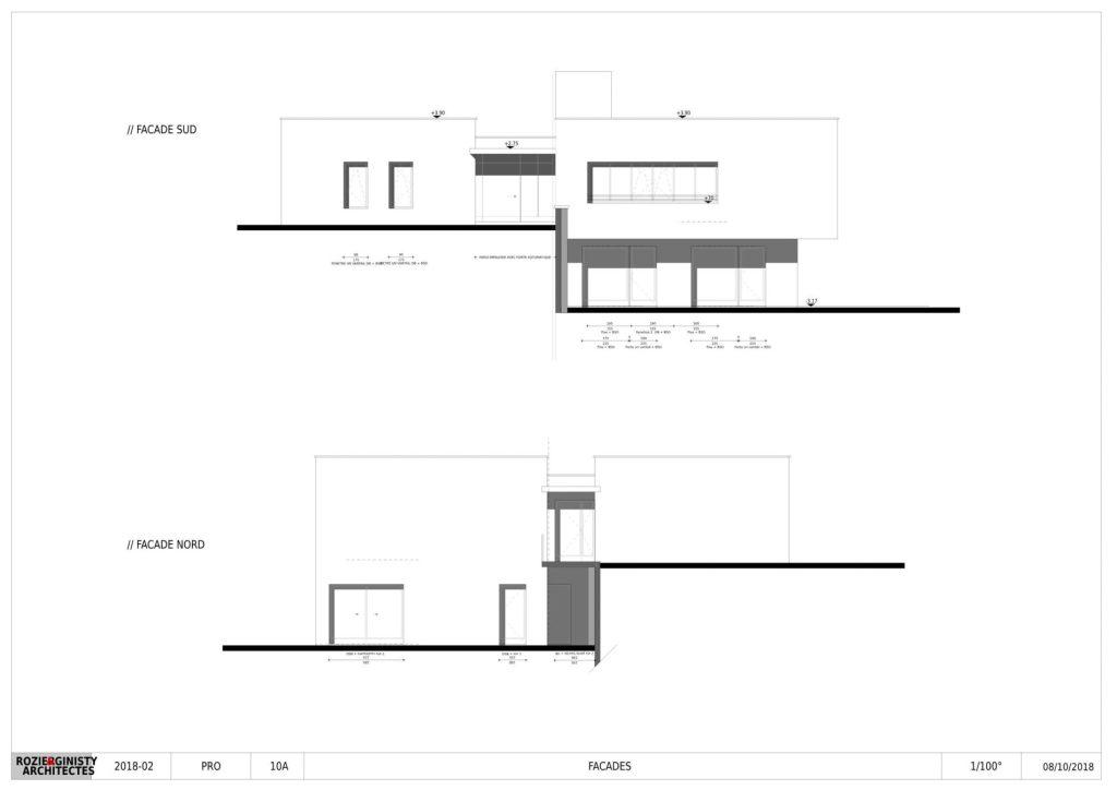 Plan des façades sud et nord maison de santé bozouls