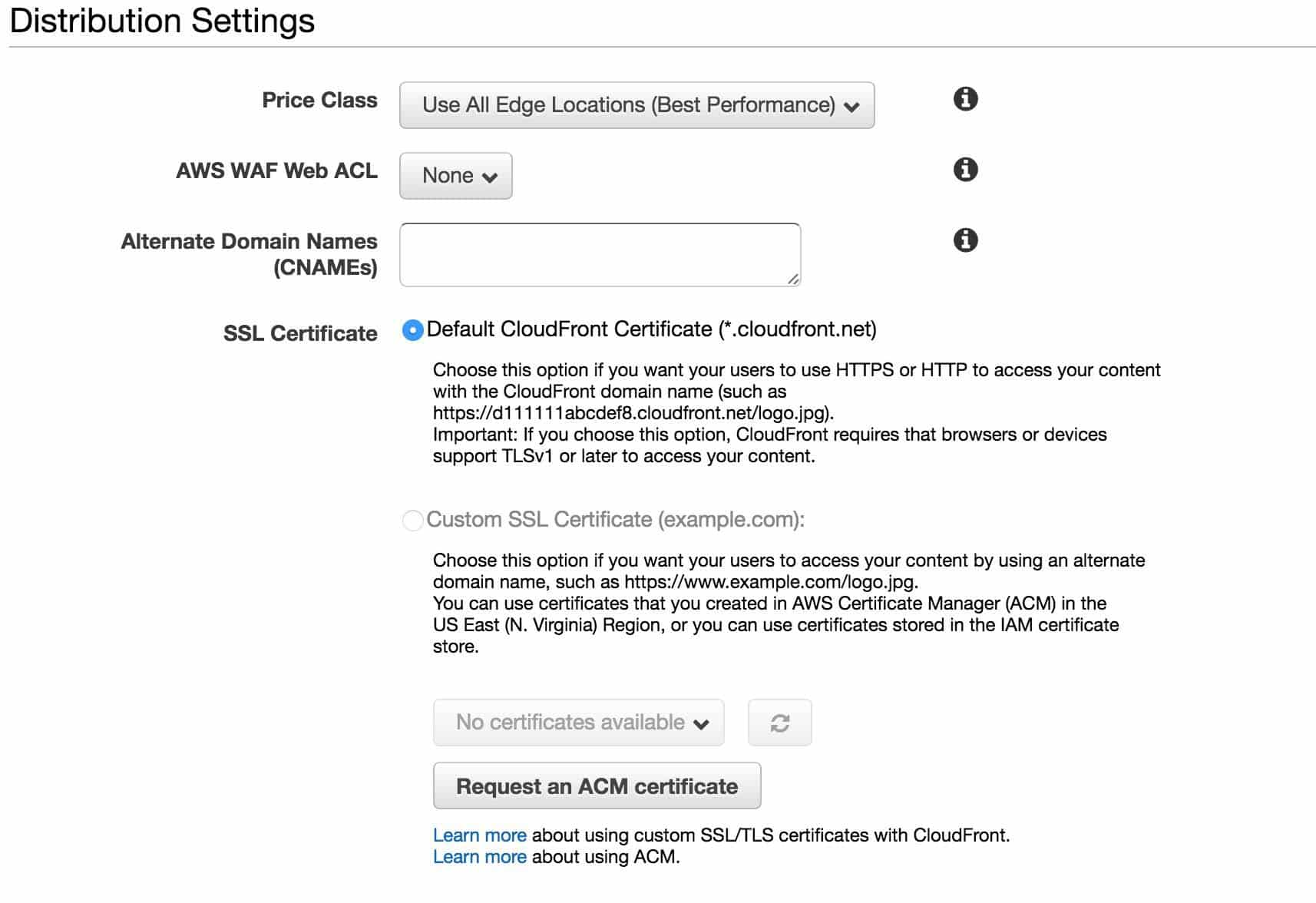cloudfront Distribution Settings for drupal