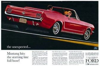 Publicidad de Ford Mustang, dirigida para servir a conductores jóvenes, de tipo deportivo y con altos recursos.